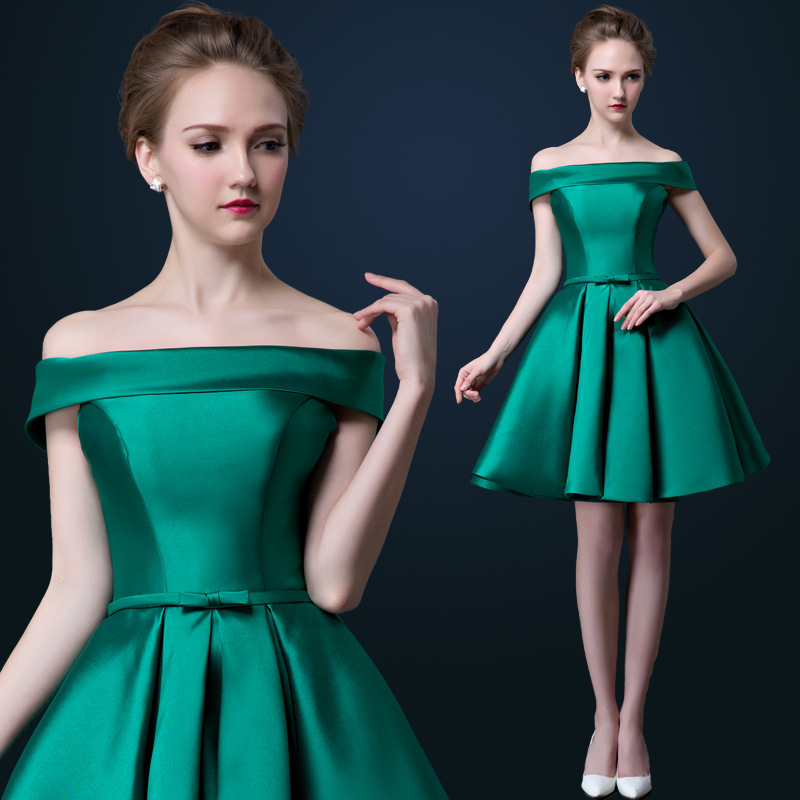 Green Off The Shoulder Evening Dress Elegant Formal Dress Short Dinner Party Dress 2016 ...