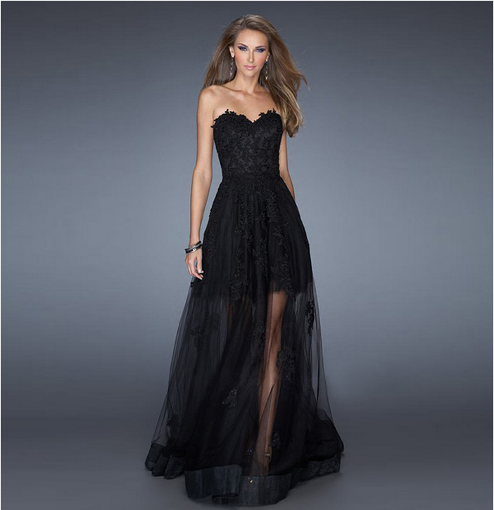 Black Prom Gowns Long Lace Evening Dress Fashion Formal Dress Ladies ...