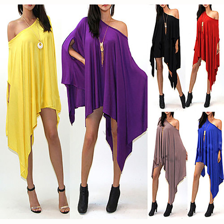 0c925fa0b19d8 Batwing Sleeve Oversized Shirt Asymmetric Blouse Women Extravagant T-shirt  Plus Size Fashion Top E140
