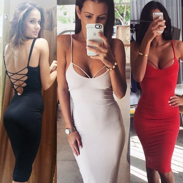 9d060df076b Women Fashion Spaghetti Strap Bandage Bodycon Sexy Evening Party Dress in  White Red Black E225