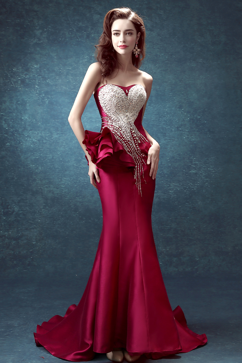 Sequin Crystal Luxury Evening Gowns Peplum Long Formal Dresses on Luulla
